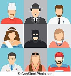 mandlig, avatar, kvindelig, ansigter