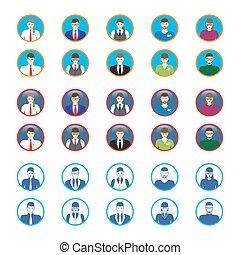 mandlig, avatar, kvindelig, ansigter, iconerne