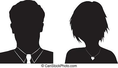mandlig, avatar, kvindelig