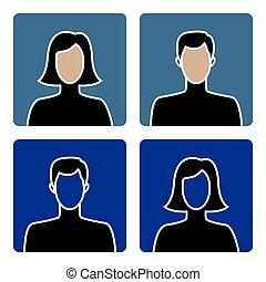 mandlig, avatar, kvindelig, iconerne