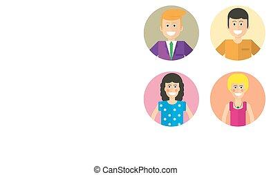 mandlig, avatars, kvindelig, ansigter