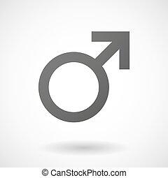 mandlig, baggrund, ikon, hvid