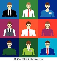 mandlig, iconerne, avatar, kvindelig, ansigter