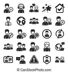 mandlig, profiles., vektor, kvindelig, icons., brugere