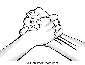 mandlig rækker, to, håndslag
