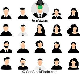 mandlig, sæt, avatars, kvindelig