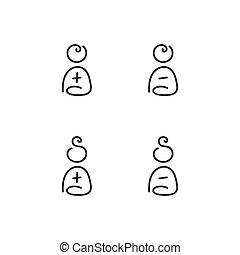 mandlig, sæt, kvindelig, iconerne