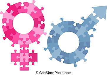 mandlig, symbol gender, jigsaw stykke, kvindelig, køn, opgave