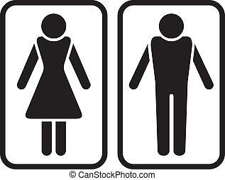 mandlig, symbol., kvindelig, og
