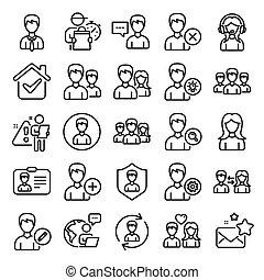 mandlig, vektor, brugere, kvindelig, profiles., beklæde, icons.