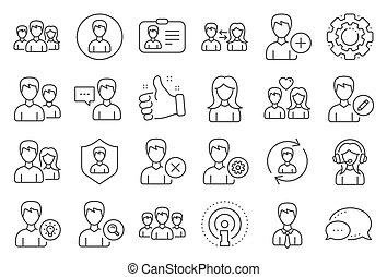 mandlig, vektor, profiles., kvindelig, brugere, beklæde, icons.