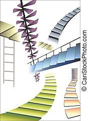 mange, forskellige, stairs
