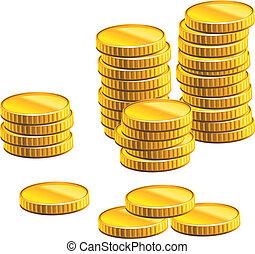 mange, mønter, guld
