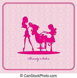 manicure, skønhed, hairdresser, pige, card, salon