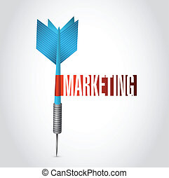 markedsføring, dart, konstruktion, illustration, tegn