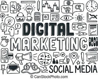 markedsføring, elementer, sæt, digitale, doodle