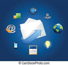 markedsføring, konstruktion, email, illustration, iconerne