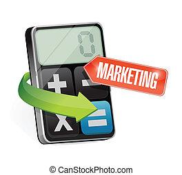 markedsføring, regnemaskine, konstruktion, illustration, tegn