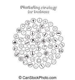 markedsføring, strategi, komposition, omkring