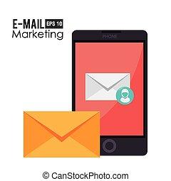 markedsføring, vektor, konstruktion, illustration., email