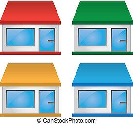 markise, farver, butik forside