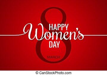 marts, banner., baggrund, 8, beklæde, womens, dag, rød