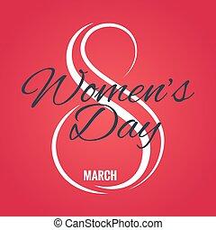 marts, card, baggrund, 8, womens, logo., dag, rød