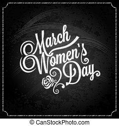 marts, kridt, baggrund, 8, dag, kvinder