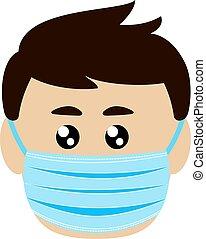 maske, menneske, medicinsk, beskyttende, on., zeseed