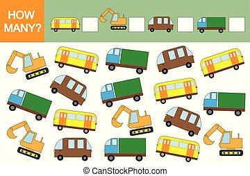 matematik, optælling, uddannelses, boldspil, children., hvordan, (transports)?, bilerne, mange