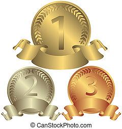 medaljer, sølv, bronce, (vector), guld