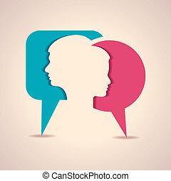 meddelelse, b, mandlig, kvindelig ansigt