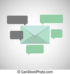 meddelelse, begreb, email, snakke, ikon
