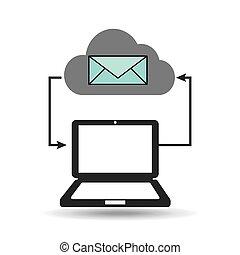 meddelelse, computer, forbundet, email, sky