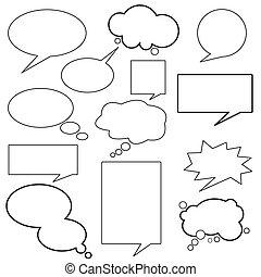 meddelelse, dialog, balloon