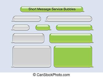 meddelelse, kort, bobler, tjeneste