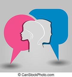 meddelelse, mandlig, kvindelig ansigt