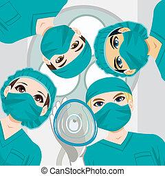 medicinsk, arbejder, hold