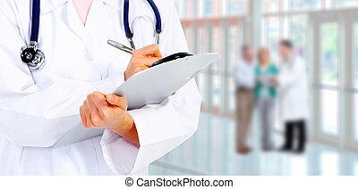 medicinsk, doktor., hænder