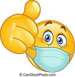 medicinsk, tommelfinger oppe, maske, emoticon