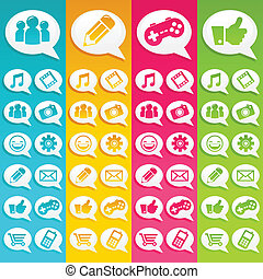 medier, bobler, tale, iconerne