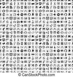 medier, doodle, sæt, iconerne