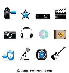 medier, sæt, iconerne