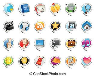 medier, sociale, boble, ikon