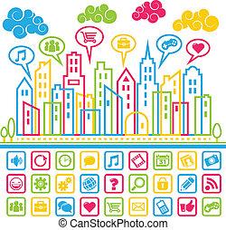 medier, sociale, byen