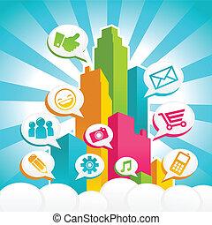 medier, sociale, farverig, byen