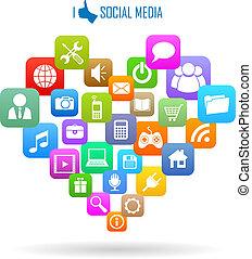 medier, sociale, ikon
