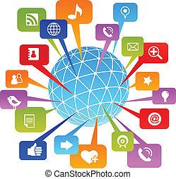 medier, sociale, netværk, verden, iconerne