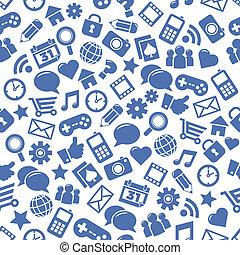 medier, sociale, seamless, mønstre