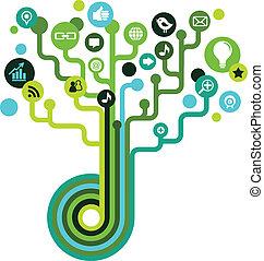 medier, sociale, træ, netværk, iconerne
